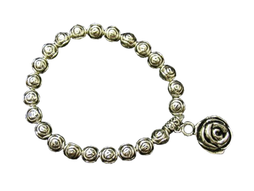 Metal Silver Rose Bead Charm Stretch Bracelet